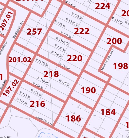 Map of census tracts in lower Harlem